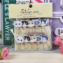 10PCS Cute Cat Animal Kawaii Pet Wooden Clothespin Office Supplies Photo Craft Clips DIY Clothes Paper Peg Party Decoration(China)