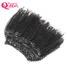 Mongolian Afro Kinky Curly Clip In Human Hair Extensions 7 Pcs/Set Clips In 4B 4C Pattern Dreaming Queen Remy Hair Products(China)