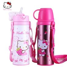 Hello Kitty 420ML Children's Thermal Cup with Straw Girl Vacuum Kettle Stainless Steel Thermos Learn Drinking Cup Christmas Gift