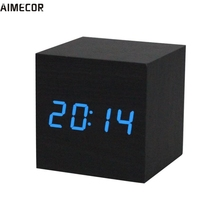 Aimecor Happy Gifts High Quality Green Blue 1PC Digital LED Black Wooden Wood Desk Clock Voice Control