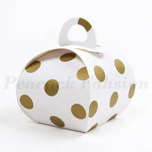 New 10*10*8cm 10 Pcs Gold Spot Paper Box As Candy Gift Handmade Cookie Chocolate Package Valentine Baby Shower Party Decoration(China)