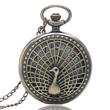 Fashion Hollow Bronze Peacock Design Bronze Case Quartz Fob Pocket Watches with Necklace Chain for Girls Women Ladies Gift(China)