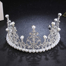 2.8 inch Height Pearl Bridal Wedding Hair Accessories Crystal Rhinestone Crown Tiaras Headband Children Birthday Cake Decoration(China)