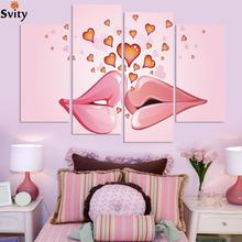 Free Shipping wedding pink canvas painting wall picture lips and love heart canvas art home decor Morden Pictures no frame(China)