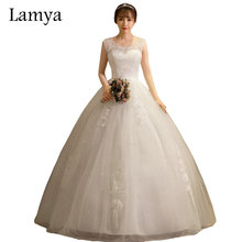 Buy LAMYA Princess Elegant Pearl Beading Boat Neck Wedding Dresses 2018 Cheap Customized Ball Gown Bridal Gowns Vestido de noiva for $45.49 in AliExpress store