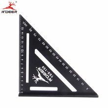 RDEER Aluminun Alloy Triangle Ruler Angle Ruler 90 degrees Protractor For Home Builders DIY Artists Measuring Woodworking tools(China)