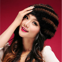 2017 New brand women winter fur hat  Elasticity 100% real mink fur cap lady fashion Headgear