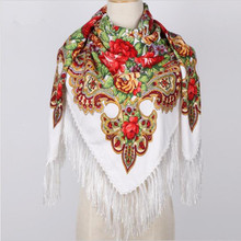 Luxury Brand Winter Warm Russian Scarf for Women Fashion Printing Thick Tassel Scarves Cotton Soft Bandana Oversize Wrap Shawls