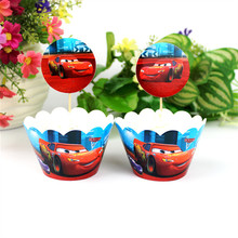 Cars Cupcake 12 pcs Toppers +12 pcs Wrappers Cupcake Decoration For Kids Cars Birthday Party Decor Holiday Event Party Favors