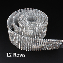 12 Rows SS8 Diamond Hotfix Rhinestone Mesh Banding Chain with  silver Aluminum base crystal  trim mesh 1.2m for garment