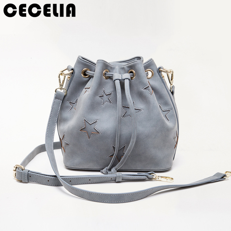 Cecelia 2017 New Bohemia PU Star Bucket Bag Shoulder Handbags Lady Star Bucket Tote Shoulder Crossbody Bag<br>