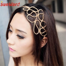 SunWard New Hot Fashion Hollow Out Braided Gold Head Band Stretch Hair Accessories Girl