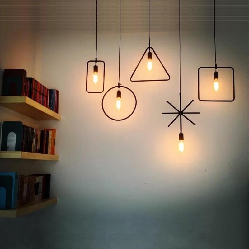 Modern Geometry Pendant Light  Restaurant Edison Suspension Luminaire Round Triangles Lighting Coffee Dining Room 110-220V <br><br>Aliexpress