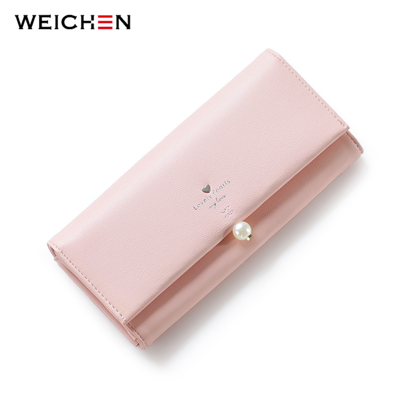 WEICHEN Lovely Pearl Heart Long Wallet For Women, PU Leather Portable Multifunction Card Coin Fashion Lady Purse Solid 6 Color C<br>