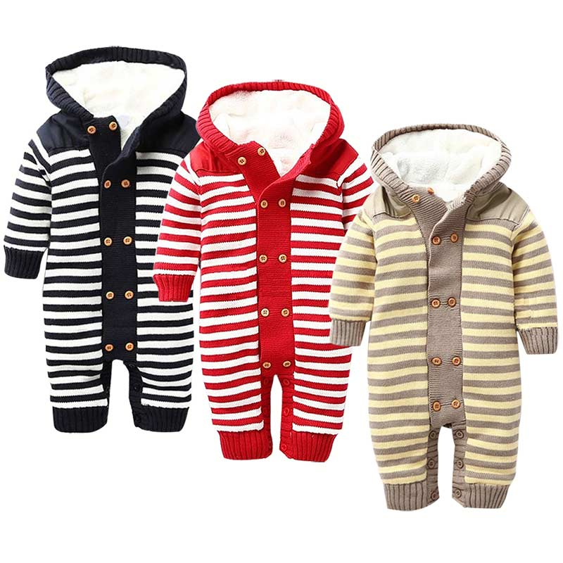 2017 Baby Romper Thick Fleece Warm Cardigan Winter Knitted Sweater Infant Clothes Hooded Outwear 88 FJ88<br>