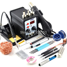 8586 700W 2 In 1 ESD Hot Air Gun Soldering Station Welding Solder Iron For IC SMD Desoldering +Heating core+tweezers+ gift