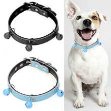 Leather Personalized Puppy Dog Puppy Collar Bell Cat Pet Neck Strap Custom For Dogs,Cat collar XS S M(China)