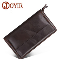 JOYIR Genuine Leather Men Wallet Long Double Zipper Wallet Vintage Handbag Male Clutch Bag Card Holder Designer Coin Purse