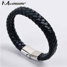 Buy Meetcute Mens Fashion Stainless Steel Charm Bracelet Bangle Black Genuine Leather Silver for $1.88 in AliExpress store