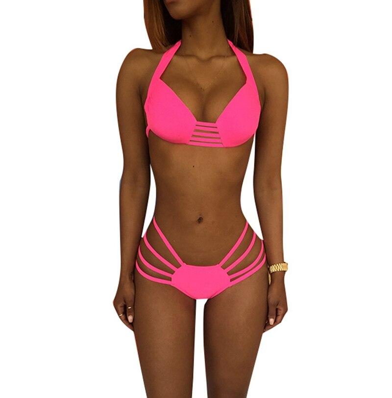 Prink Thong Women Bikinis Set Hollow Out Spaghetti Strap Swimwears  Push Up Halter Neck swimsuit High Waist Monokini Beachwear<br><br>Aliexpress