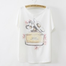 Hot tshirts for women short batwing sleeve cotton t-shirt women's casual loose tees Perfume bottles print B07/B63 free