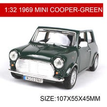 1:32 Diecast Model Car 1969 MINI COOPER Classic Cars Vehicle Play Collectible Models Sport Cars toys For Gift Collection