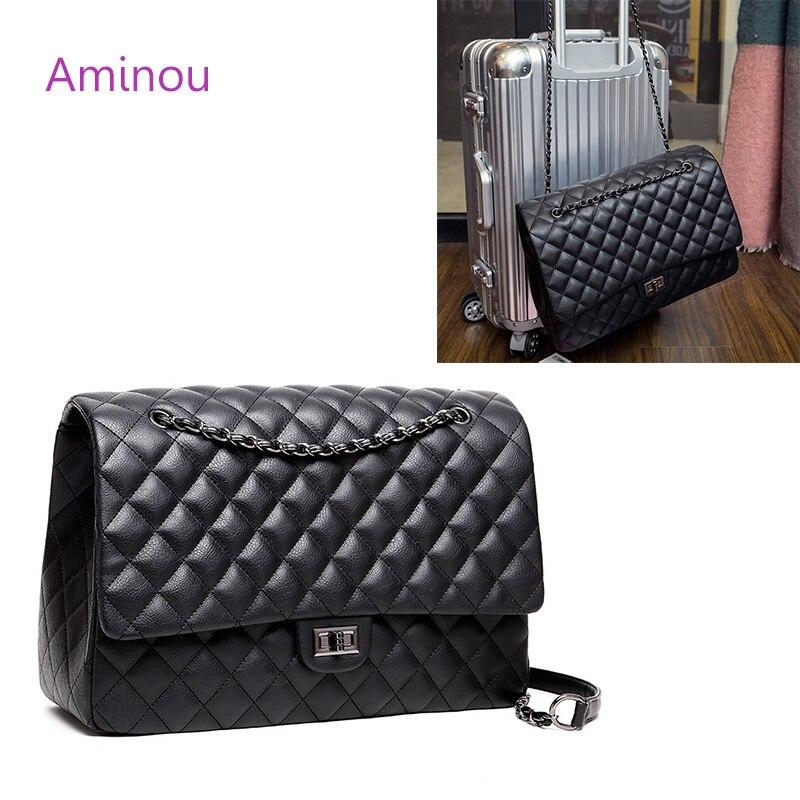 Aminou Women Travel Large Messenger Bags For Girls Pu Leather Brand Designer Crossbody Handbag Fashion Ladies Tote Shoulder Bag<br>