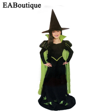 2016 new high quality halloween costume for kids girls Green witch costumes sets girls halloween outfits include hat and dress(China)