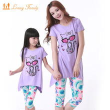 Family set for mother and daughter clothes 2017 summer Cartoon cat clothing sets Summer parent-child suit family clothes suit