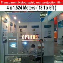 13.1x5 Feet  Holographic Glass Windows Film Self Adhesive Rear Projection Transparent Coloring Film For Advertisement Exhibition