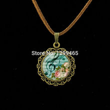 Morocco fashion jewelry Retro ethnic style Music Staff pendant Wholesale Charms High notes style Leather Necklace L 518(China)