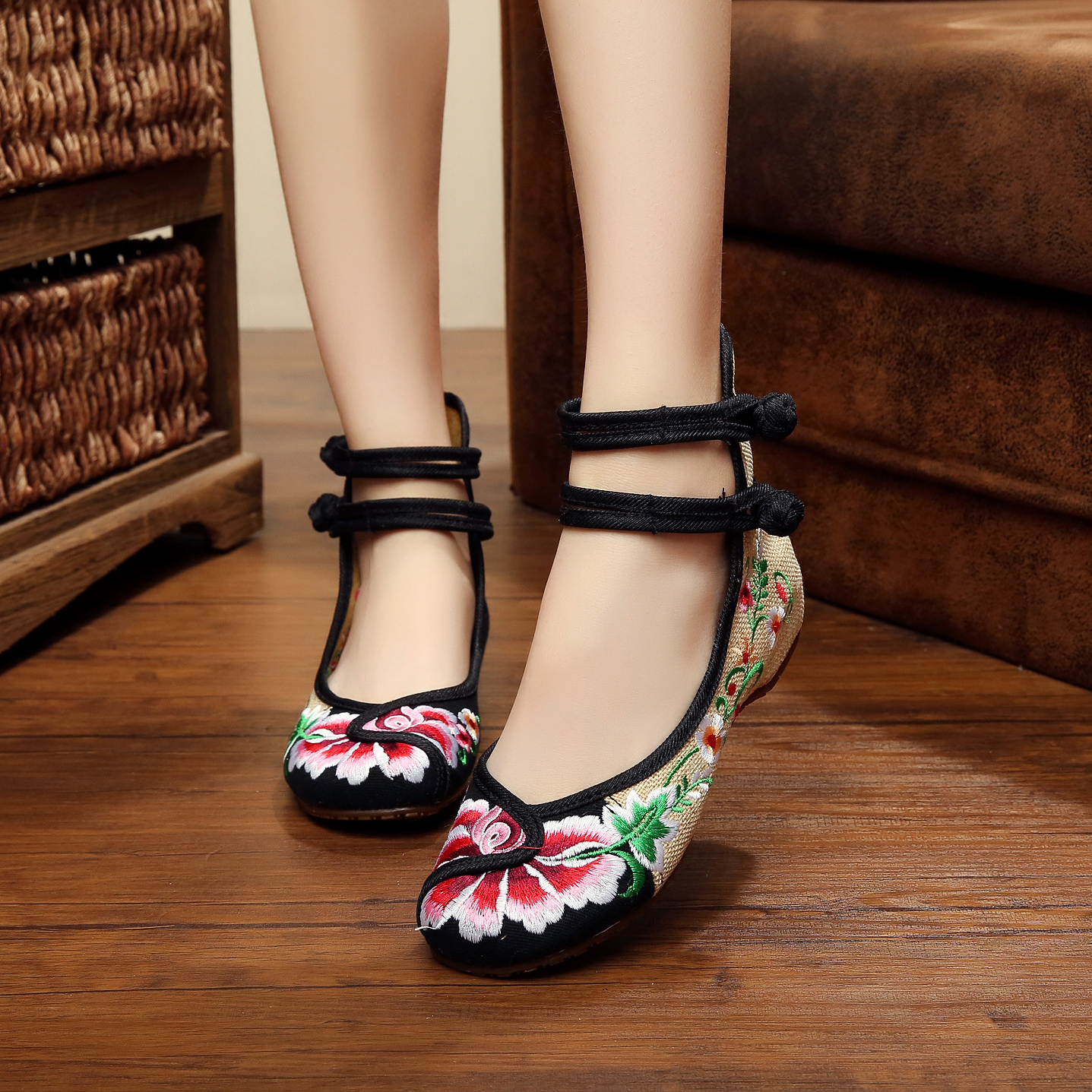 New Spring delicate retro flower embroidery linen shoes for women fashion ladies casual flats shose<br><br>Aliexpress