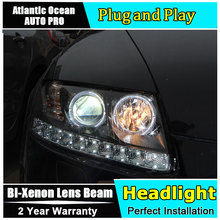 Auto.Pro Car Styling for Audi A6 C5 Headlights 2005-2008 A6 LED Headlight DRL Lens Double Beam HID KIT Xenon bi xenon lens(China)