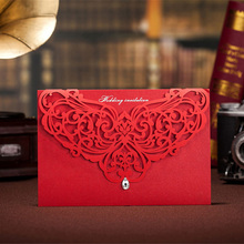 10pcs/set Hollow Laser Cut Red Lace Flower Crystal Wedding Invitation Cards Privated Custom Envelopes & Seals Party Suppliers