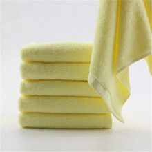 1PC Face Towel New Arrival Super Soft 100% Cotton High Absorbent Terry Towels Yellow Color Towel Dishcloth Christmas Gifts(China)