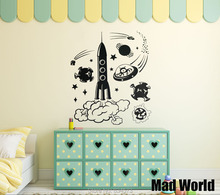 Mad World-Space Alien Rocket Childrens Wall Art Stickers Wall Decal Home DIY Decoration Removable Room Decor Wall Stickers