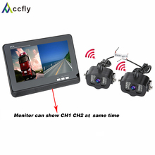 Accfly 12V 24V wireless reverse reversing rear view camera for trucks bus excavator Caravan Van RV Trailer with 2CH Monitor