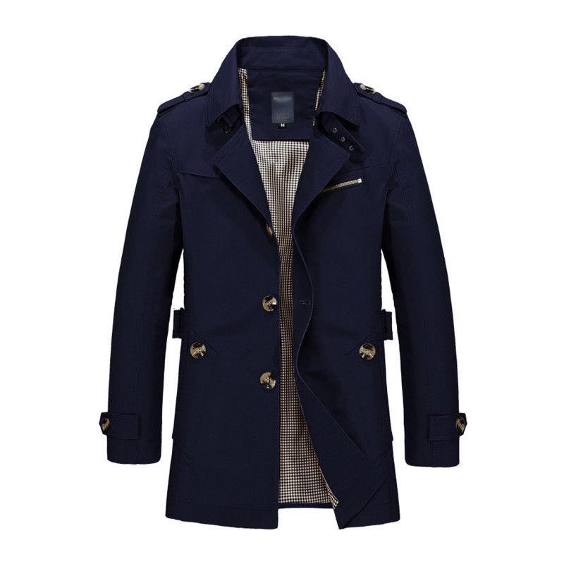 Korean Overcoat Khaki Black PLus size XXXL XXXXL 5XL british style Slim fit trench coat long men New Spring 2017 man Windbreaker (3)