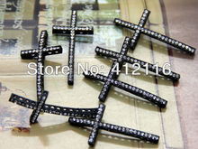 Ailatu Free Shipping Diy Jewelry Small Clear Rhinestone Sideways Black Cross Beads/Connectors/Charms Fit For Bracelets Making