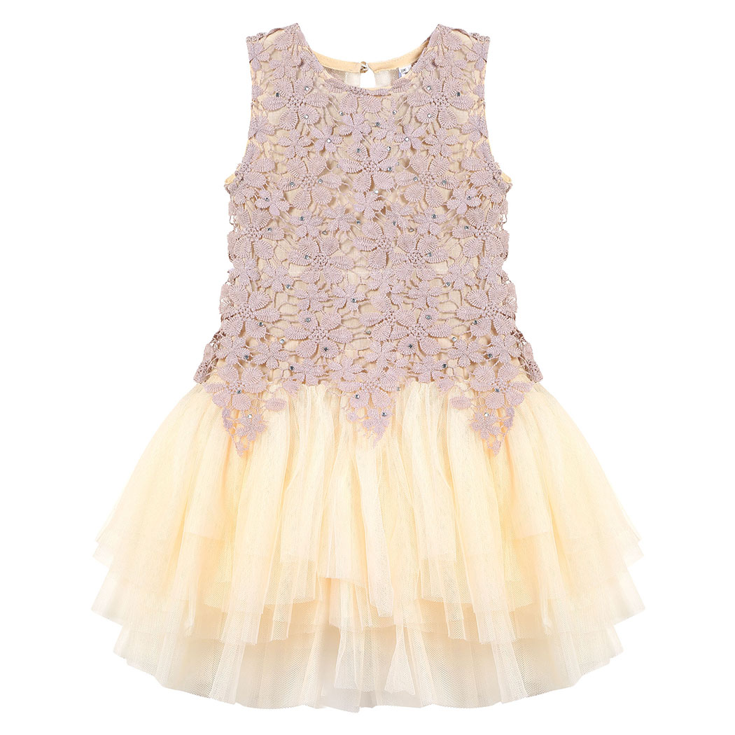 Fashion Cotton O-Neck Pleated Party Wedding Apricot Dress Kid Girls Elegant Floral Lace Dress Rhinestone Dress 1-8 Years New <br><br>Aliexpress