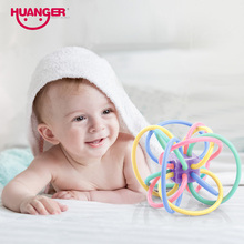 Huanger Newest Baby Toy Rattle Teether Mobile 0-12month Little Loud Bell Ball Grasping Fun Hand Shake Developmental Gift
