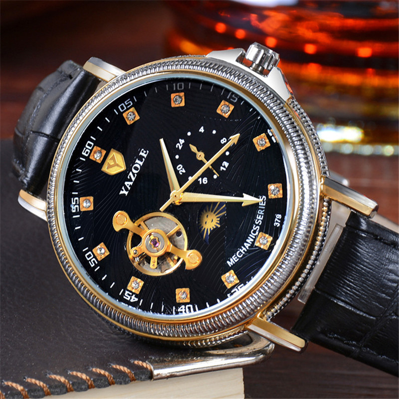 YAZOLE Luxury Brand Mechanical Watches Men 24 hours Semi Automatic Hollow Waterproof Genuine Leather Mens Luminous Watch YD379<br>