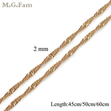 MxGxFam 45CM/50CM/60CM 18 yellow Gold Color Tiny Water Wave Chains (Special Price) for Matching Pendants(China)