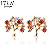 17KM hot New design fashion cute tree color rhinestone Stud earrings jewelry For women accessories purple/red