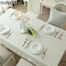 DUNXDECO Waterproof Tablecloth Cotton Blend Table Cover Party Decorative Fabric Fresh Blue Check Modern Pattern(China)