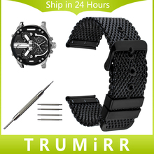 20mm 22mm 24mm Milanese Watchband + Tool for Diesel Men Women Watch Band Stainless Steel Strap Wrist Belt Bracelet Black Silver