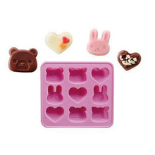HOT product 1 pc Silicone Chocolate Jelly Mold Microwave / Oven / Fridge / Freezer heart and bear(China)