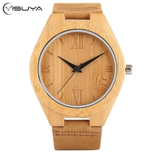 YISUYA New Arrival Bamboo Wood Creative Watches Simple Men's Sport Wooden Analog Quartz Wrist Watch Roman Numeral Timber Clock(China)