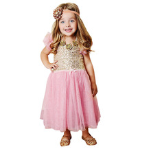2017 New Baby Toddler Kids Girls Clothes Fashion Sequins Party Wedding Tutu Pink Dress