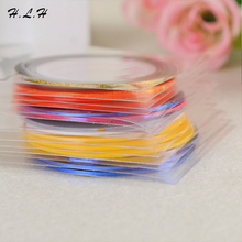 100pcs/pack 20m Rolls 3D DIY Fashion Decal Kits Adhesive Striping Tape Line Set Mixed Colors Sticker Decals Nail Art Christmas(China)